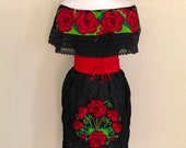 Off the shoulder embroidered Mexican dress, Mexican Peasant Dress, Vestido Campesina Bordado, Fiesta Dress