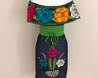 fc303ab69b Medium - Off the shoulder Embroidered Mexican Denim Dress