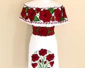 Off the shoulder Embroidered Mexican Dress, Vestido Campesina Bordado, Fiesta Dress