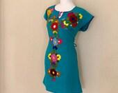 M- Mexican Hand Embroidered Tie Back Dress, Fiesta Dress, Vestido Mexicano Bordado, Chiapas Dres