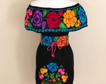 c5f270afc3c43 Small Off the shoulder Embroidered Mexican Dress, Vestido Campesina  Bordado, Fiesta Dress