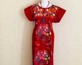 M- Mexican Embroidered Maxi Dress, Mexican Long Dress, Fiesta Dress, Vestido Mexicano Bordado