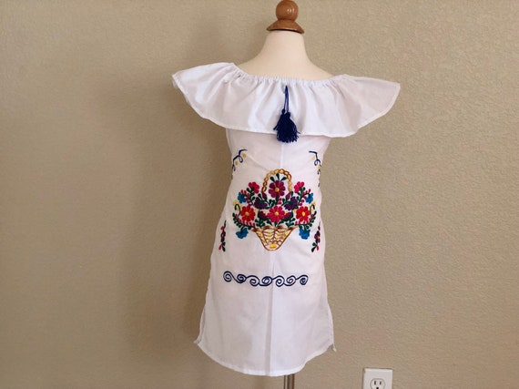 6 Years Girls Embroidered Mexican Dress Vestido Bordado Para Niña Fiesta Dress Off Shoulder