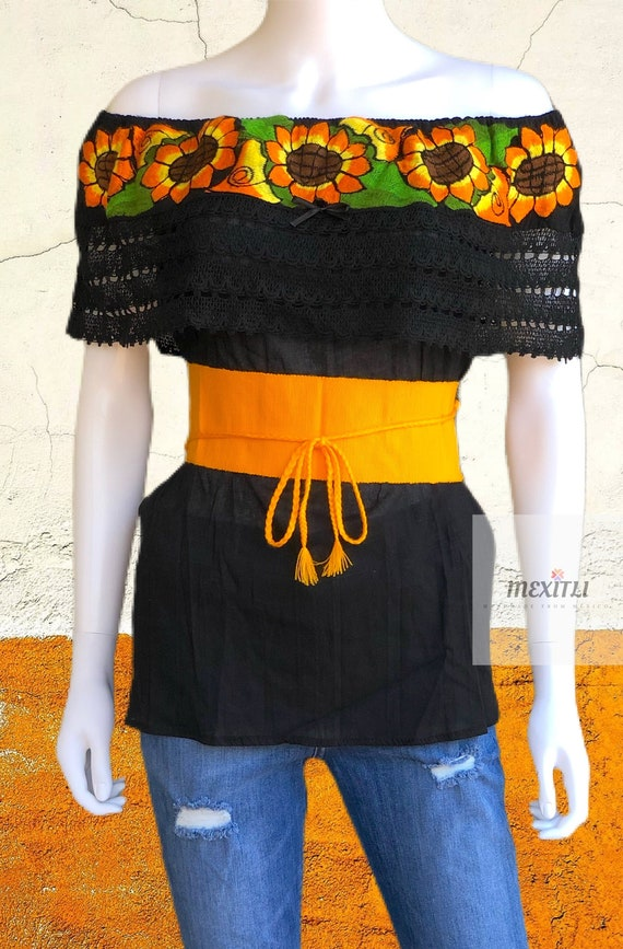 Chiapas Fiesta Cinco de Mayo Mexican Top Front Tie Off The Shoulder Sunflower Embroidered Mexican Blouse