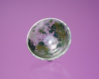 Moss Agate Carved Bowl, Quartz variety Moss Agate, Carved in India