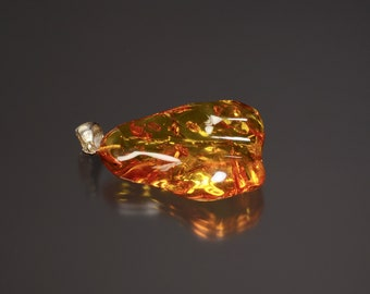 Polished Amber Necklace pendant with drilled Sterling Silver Bail, Wonderful Color with Lily Pad Inclusions