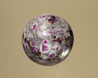 Ruby in Granite Sphere from Hassan, India, Corundum variety Ruby in Granite rock polished and carved into Sphere