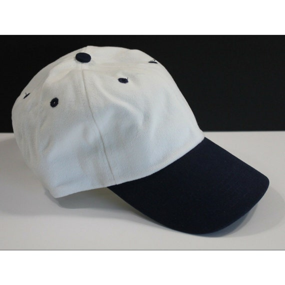 Trucker Hat Blank White Navy Cotton Curved Brim Bu