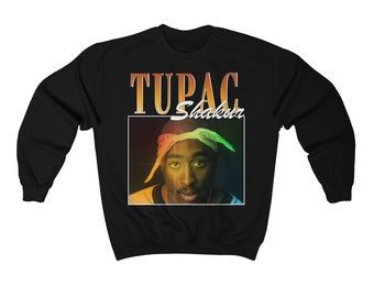 f3c9a04d44387 TUPAC SHAKUR Sweatshirt Vintage 90s Inspired - Tupac Shakur Homage Shirt -  Vintage Music Sweatshirt Style - Inspired by 90s Fashion - 2Pac