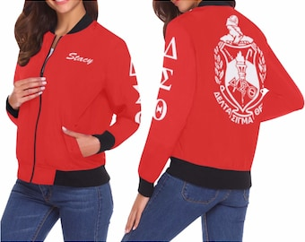 a24b67f3 Delta Sigma Theta Bomber Jacket Available in Plus Size