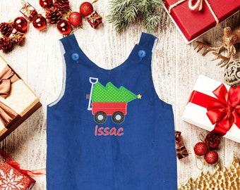 512d63171 Boys Christmas Wagon Jon,Christmas Wagon Tree Longall ,Applique Longall,Baby  Boy Christmas, Blue Cord Longall,Applique Longall