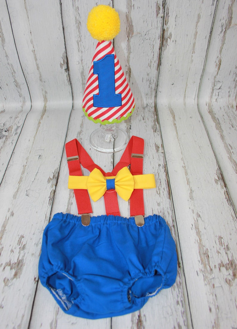Boys Cake Smash Outfit,Circus or Carnival Party,Boys First Birthday  Outfit,Red Stripe Diaper Cover, Hat, Suspenders,Bow Tie