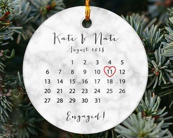 Engagement Ornament Custom Christmas Engaged Ornament Wooden Personalized With Names and Date Engagement Gift or Christmas Gift
