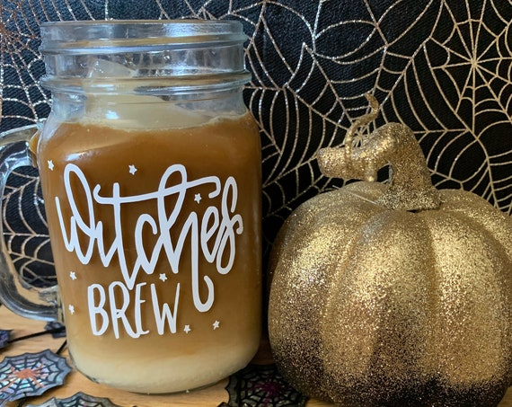 Witches Brew, Mason Jar Drinking Glass, Glassware, Halloween Glass, Witch Brew Cup, Witches Brew, Iced Coffee, Star Design, Witch Magic