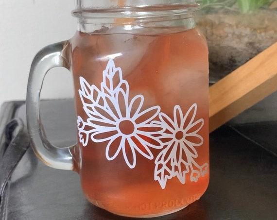 FLORAL Glass Mason Jar Mug / Coffee Glass / Mug Cup / Flower Mug / Mason Jar / Mug / Cup / Iced Coffee Glass