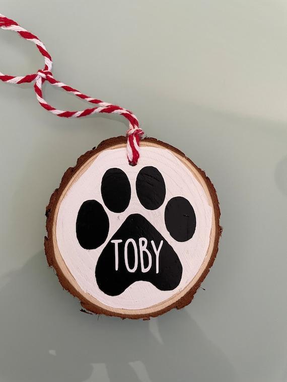 Personalized Dog Ornament   Custom Name Reclaimed Wood Ornament   Wood Slice Ornament   Gift for Fog Lover   Dog Christmas Ornament