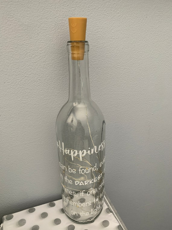 Harry P Bottle Light - Harry The Wizard - Wizard Gift - Bottle Light - Happiness Can Be Found - Harry Pottery Quote - Wine bottle light