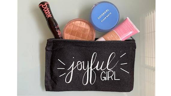 Joyful Girl Makeup Bag, Toiletry Bag. Gift for her, Fun Makeup Bag, Cosmetic Bag, Travel Bag, Pencil Case, Ani Difranco lyrics, song lyrics