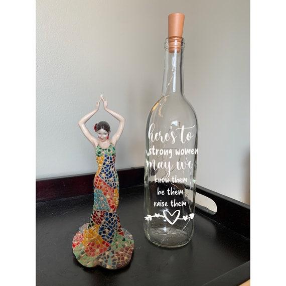 Here's to Strong Women Wine bottle light, fairy lights, light up wine bottle, gift for mom, gift for her, house decor, home decor