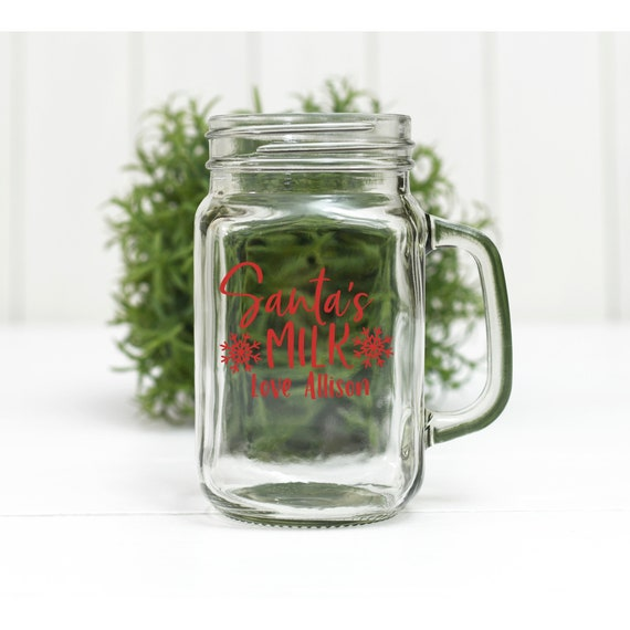 PERSONALIZED Santa's Milk Mason Jar Glass / Holiday Milk glass / holiday tradition / milk and cookies / child's name / for santa
