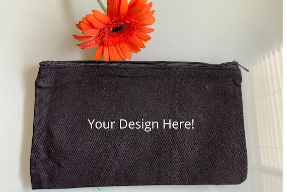 Customizable Makeup Bag, Canvas Toiletry Bag, CUSTOM NAME, Hand lettered, Best Friend Gift, Bridesmaid Gift Bag, Pencil Case, Canvas Pouch