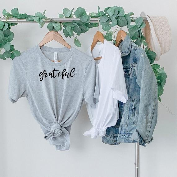 Grateful hand lettered shirt, inspirational tshirt, teacher tshirt, shirts with sayings, thankful fall shirt, positive saying shirt