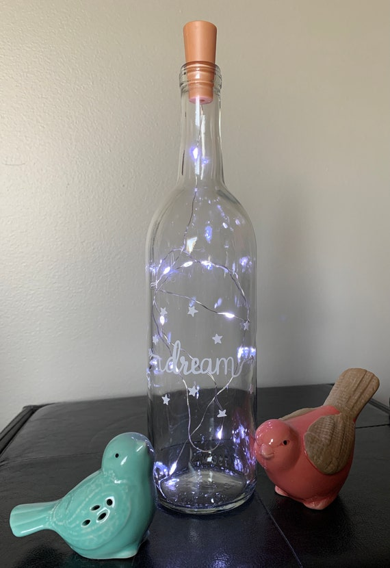 Dream Wine bottle Lights, Wine Bottle Decor, Light up Wine Bottle, Wedding Table Decor, Night light, Nursery Decor, Babyshower Gift