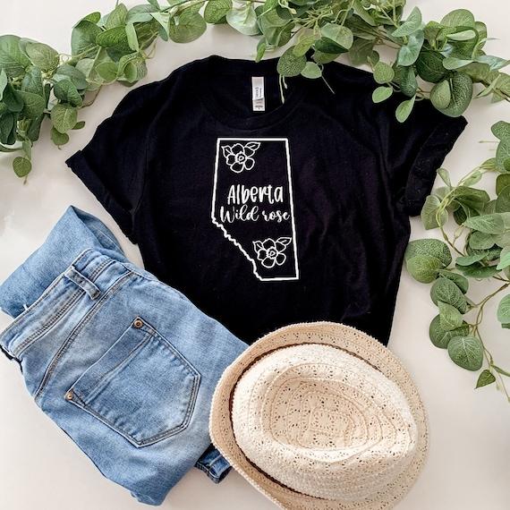 Alberta Wildrose Shirt - Made in Alberta - Province Love - Local Love  - hand lettered shirt - provincial flower shirt