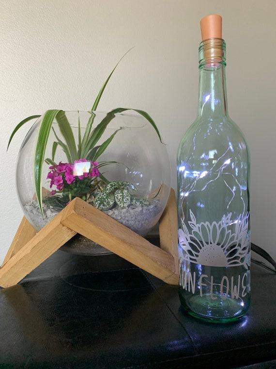 Sunflower Wine bottle Lights, Wine Bottle Decor, Light up Wine Bottle, Wedding Table Decor, Night light, Nursery Decor, Party Decor