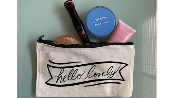 Hello Lovely Makeup Bag, Toiletry Bag. Gift for her, Fun Makeup Bag, Cosmetic Bag, Travel Bag, Pencil Case