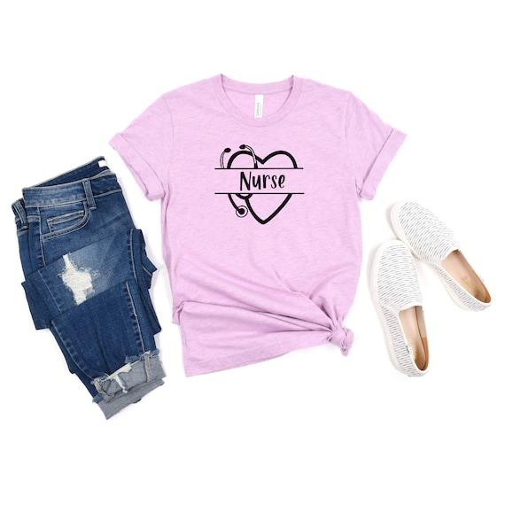 Custom Nurse Shirt, Heart Nurse T-Shirt, Nurse Tees, Cute Nurse Shirts, Nurse Appreciation Gift, Nurse Gift Idea, Nurses Week Gift, Nametag