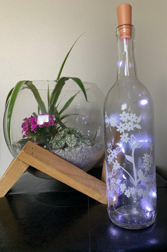 Cherry Blossom Wine bottle Lights, Wine Bottle Decor, Light up Wine Bottle, Wedding Table Decor, Night light, Nursery Decor, Party Decor