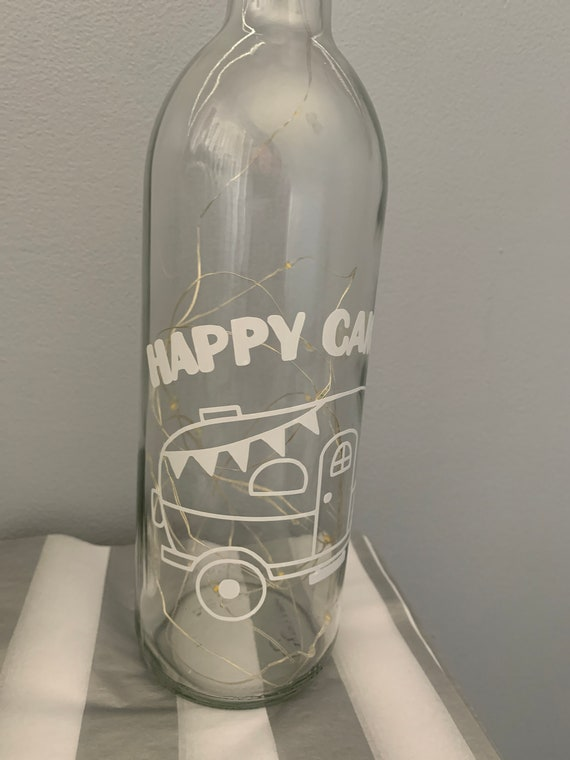 Happy Camper Wine Light Bottle - travelling light up wine bottle - gift for day birthday - Christmas gift present - gift campers