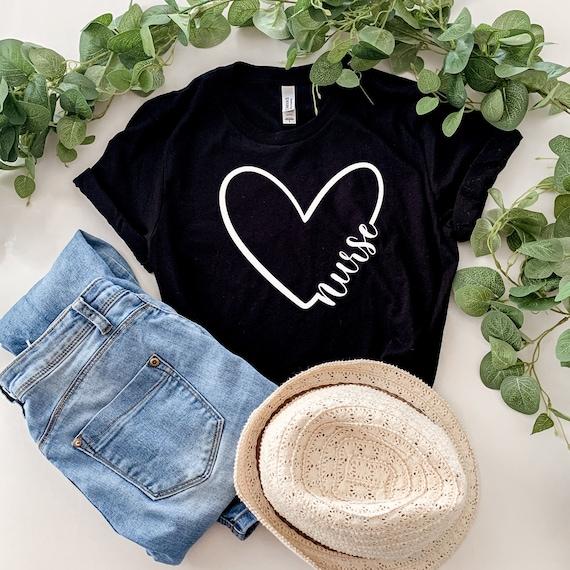 Love Nurse Shirt, Heart Nurse T-Shirt, Nurse Tees, Cute Nurse Shirts, Nurse Appreciation Gift, Nurse Gift Idea, Nurses Week Gift