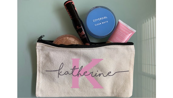 Personalized Makeup Bag, Canvas Toiletry Bag, CUSTOM NAME, Hand lettered, Best Friend Gift, Bridesmaid Gift Bag, Pencil Case, Canvas Pouch