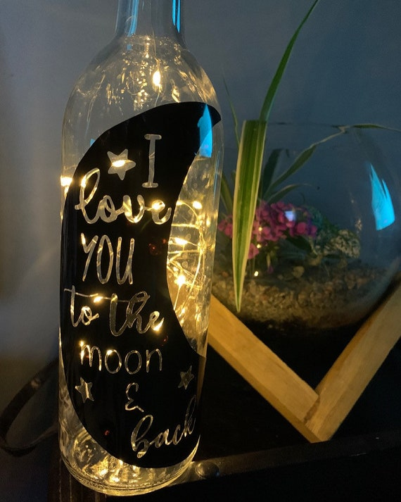 To the Moon and Back Wine Bottle Light, fairy lights, nursery decor, night light, new baby gift, baby shower gift, new mom, gift for her