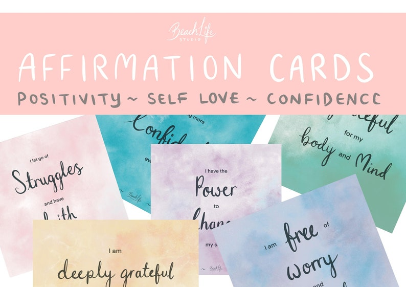 36 Printable Affirmation Cards ~ Self Love ~ Positivity ~ Confidence ~ Inspiration INSTANT DOWNLOAD