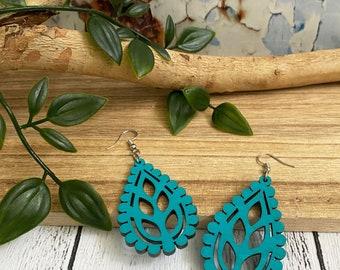 Bohemian dangle earrings FC118, Eco friendly wooden Jewellery light weight laser cut earrings Ultramarine Blue Boho wood earrings