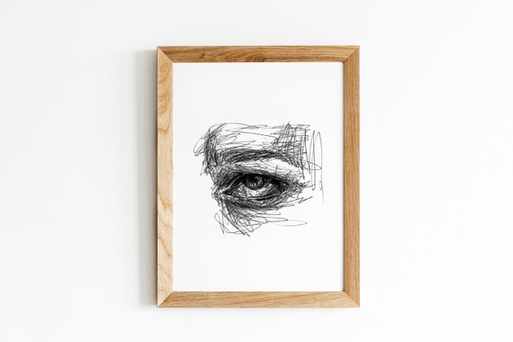 Printable Face Drawing Sketch Art Eye Portrait Black And White Female Poster Minimalist Illustration Print Abstract Wall Art Home Decor
