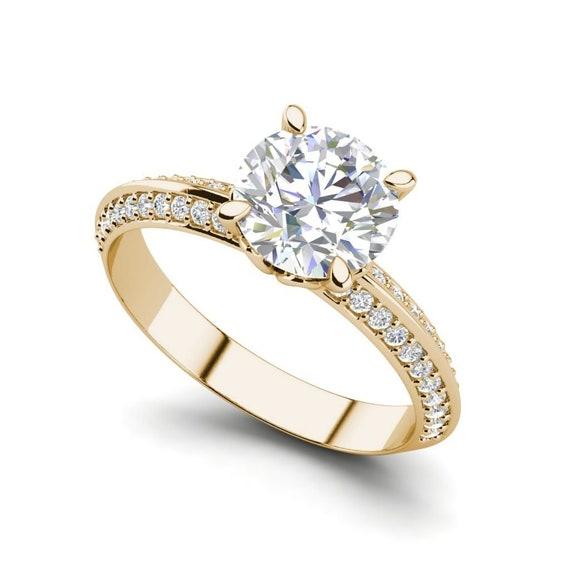 Pave Milgrave 1 35 Carat Round Cut Moissanite Engagement Ring Etsy