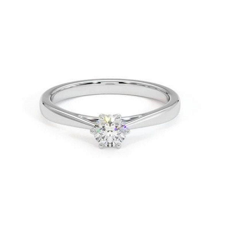 Solitaire Ring Moissanite Promise Bridal Ring Solid 14k Gold Ring 0.5 Ct Moissanite Engagement Rings White gold,Diamond wedding band