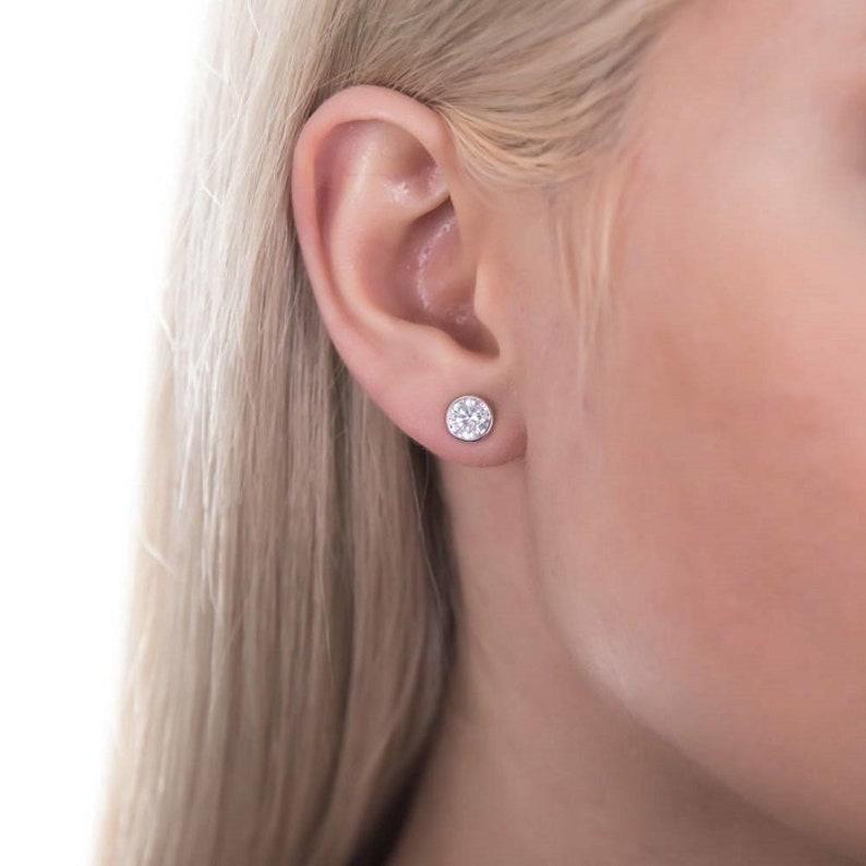 14k White Gold Earrings set with 2Ct Forever One Mossanite Push Back Earrings Unique wedding Earrings Bezel Moissanite Earrings