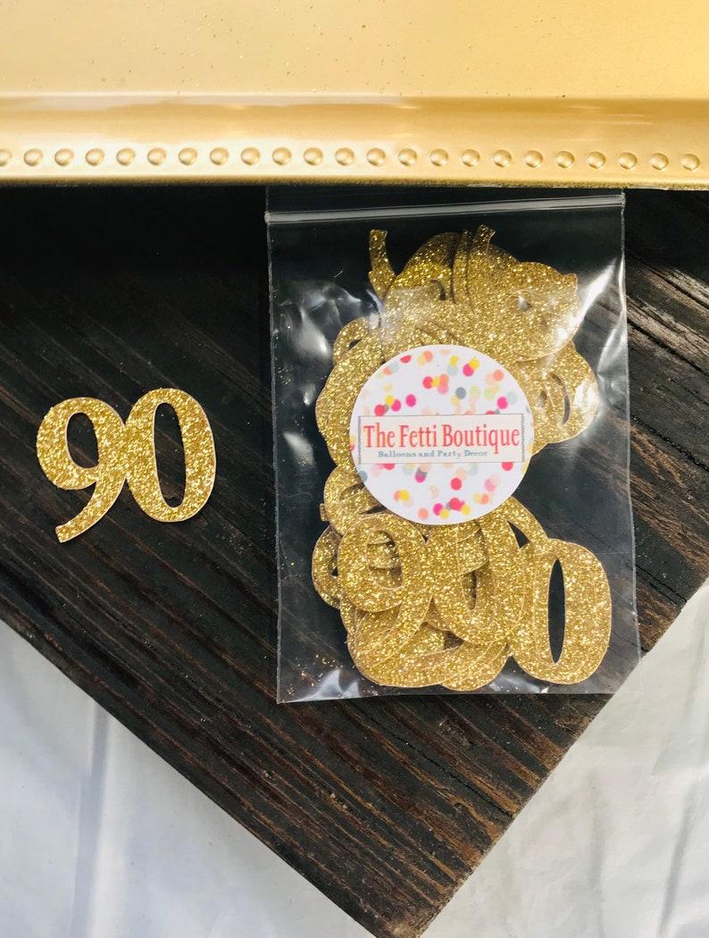 90th Birthday Confetti 90th Birthday Party DecorationsAge Confetti milestone confetti50 pieces 90th party supplies  number confetti