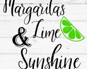 Margaritas Lime & Sunshine SVG, Digital File, Cut File for Silhouette and Cricut, Alcohol SVG, Summertime SVG