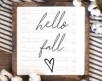 hello fall SVG, Digital File, Cut File for Silhouette and Cricut, Mug Decal, Sign SVG, Fall SVG