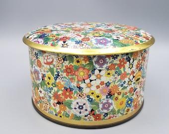 Vintage Daher Floral Metal Tin #11101 Made in England Daher Floral Tin Lidded Tin Floral Tin Gift Box