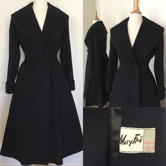 Vintage 1940s Black Wool Princess coat by Mayfre'