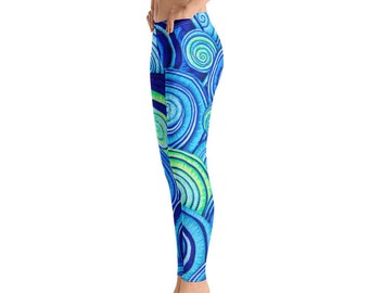 400053e0ddd33 Beautiful Abstract Blur Swirls, Yoga Leggings, Incredibly Soft Yoga Leggings,  Abstract Blue Swirled Gym Leggings, Workout Leggings