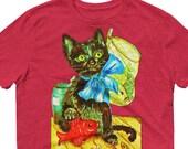 Vintage Cat Art, Vintage Fishing Cat, Lightweight Unisex Anvil T-Shirt, Vintage Cat Tee, Cat Lover Gift, Antique Cat Tee, Unique Cat Tee