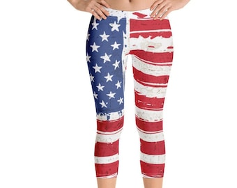 3e200cfc740c5 American Flag, Abstract, Painted Flag Capri Leggings, Incredibly Soft Capri  Leggings, 4th Of July Capri Leggings, Patriotic Legging Capris